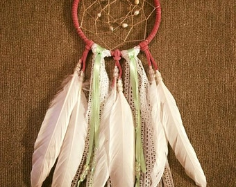 Pink and white lace dream catcher