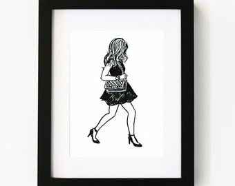 Classy and fabulous, Illustration Art Print, Room decor, Gifts For Her, Wall Art, Poster