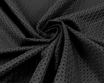 Football Mesh Knit Fabric - Black - 10 yards TR1