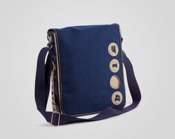 Cordura pouch with Holearound and genuine leather-100% Made in Italy-blue/Beige