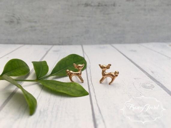 Fawn earrings, gold bambi earrings, bambi stud earrings, baby deer earrings, minimalist jewelry, gift idea, elegant earrings