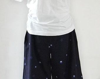 Japanese tradithional woven, new fabric, elastic waist, cotton pants, Kurume kasuri