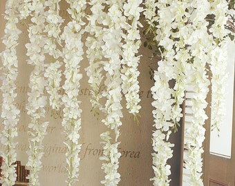 24pcs Artificial Silk Wisteria Garland Wedding Bridal weddings---white