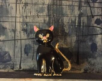 Vintage Enameled Black Cat Brooch