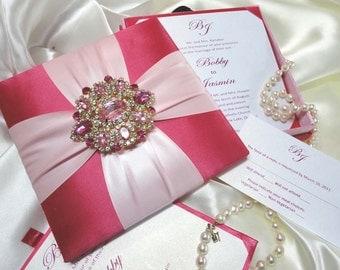 Silk Wedding Invitation Box With Rhinestone & Brooch