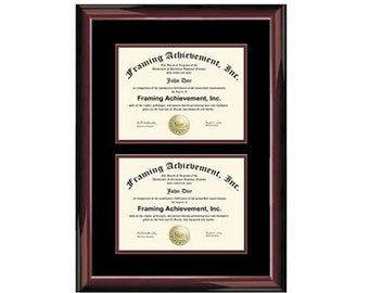 college dual diploma frame two degree double certificate plaque glossy traditional mahogany top mat black inner - Dual Diploma Frame