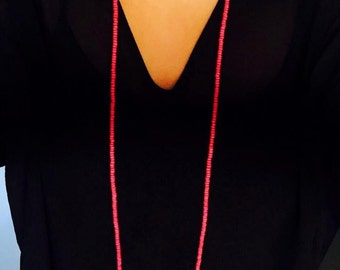 Hot Pink Double Wrap Necklace