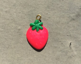 Polymer Clay Strawberry Charm