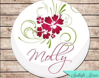 Bridesmaids Gift Personalized Pocket Mirror - Hula Hibiscus Design