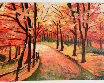 Autumn woodland scene in acrylic