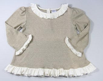 Toddler Baby Girl 100% Organic Cotton Beige Top with Ruffles - 18-24months