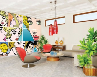 Photo Wallpaper Wall Mural for Dining Room, Bedroom Decor, Living Room Decor, Office - Couples Kissing Pop Art Wall Mural Large