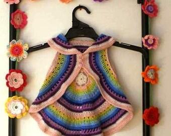 Crocheted circular rainbow vest: 'Winter'