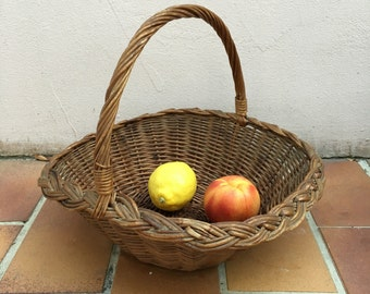 Large Wicker Basket Flat Herb Flower Gathering Chic Vintage Woven Rattan FRUITS
