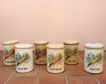 Nice vintage french canister tin set metal flowers and birds flour sugar rice
