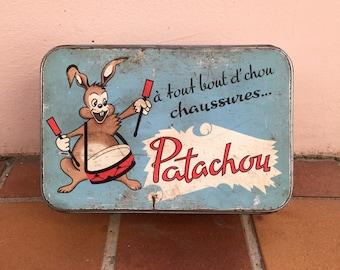 Vintage retro french metal box cute shoe sugar