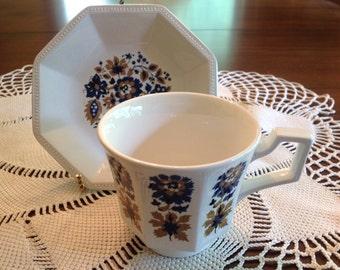 Johnson Bros, Jacobean tea cup and saucer.
