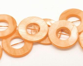 "5 Pearl glass ""Donut"" - 25 mm - orange / H1-0346"