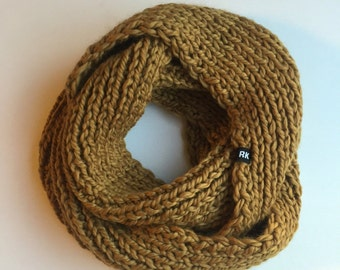 Infinity scarf circle scarf cowl knit scarf in Butterscotch