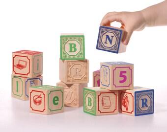 English ABC blocks, Embossed wooden blocks Alphabet