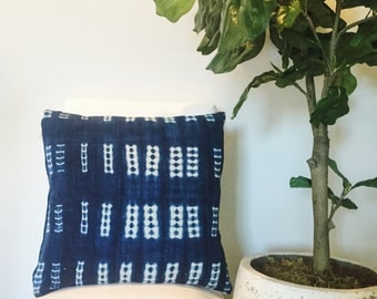 Indigo African Mud Cloth Pillow 20' x 20'