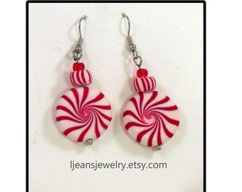 Christmas Peppermint Candy Polymer Clay Earrings