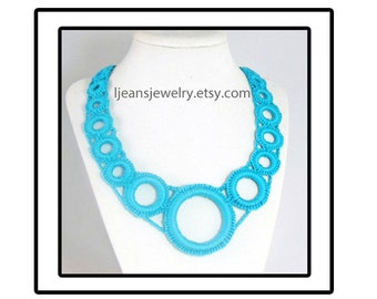 Aqua Crochet Necklace and Earring Jewelry Set