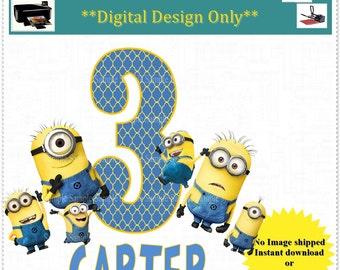 Minion Birthday Transfer Image; Birthday Printable Iron on Transfer Image: FREE Personalization;Any Age