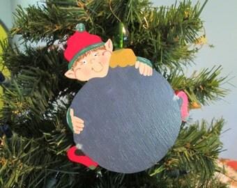 elf on a christmas ball ornament