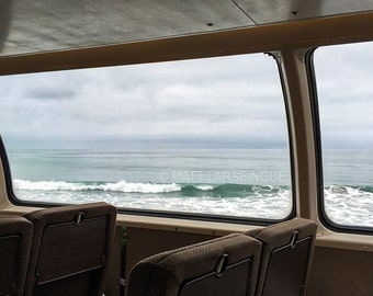 Pacific Ocean Waves Seen from the Seat of a Passenger Train on the California Coast