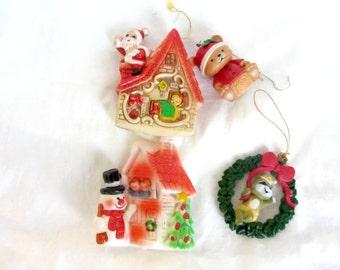 Set of 4 Vintage Christmas Ornaments, Vintage Christmas Ornaments, Christmas Decorations, Vintage Christmas Décor, 80's Retro Ornaments