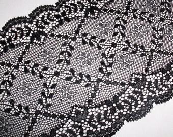 Black elastic lace 14, 5 cm width: 2m