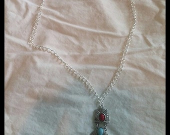 Blue and burgundy necklace