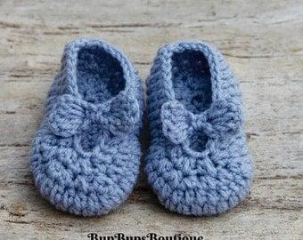 Handmade Baby Girl Mary Jane - Pram & Crib shoes - Baby Gift - Crochet Mary Jane Shoes - Baby Shoes -  Baby Booties - Baby Shower