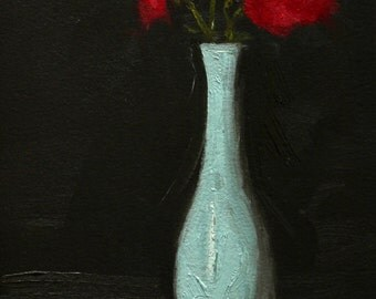 Blue Vase Floral Still Life Oil Painting, Small 6x9 Original Art on Arches Oil Paper