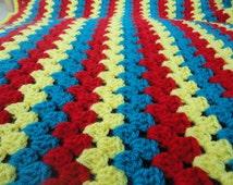 Superman baby blanket handmade unique crochet for car and pram