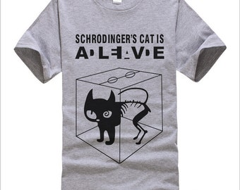 Schrodinger's Cat T-shirts Men Swag Funny Cotton Short Sleeve Tshirts 2016 New Fashion