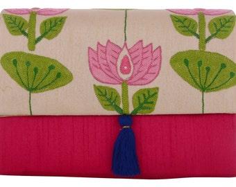 Pink lotus clutch
