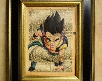 dragonBall z Gotenks #3 Art Print on Vintage Dictionary page