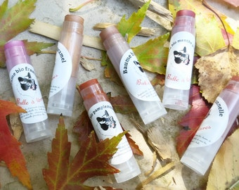 Natural organic tinted lip balms
