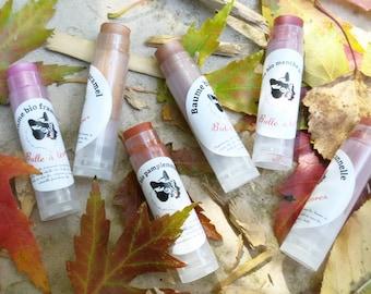 Natural organic tinted lip balms