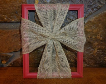 Burlap cross on wood frame; cross frame, cross for wall, burlap cross hanger, christian wall art, rustic Christmas decor, Christmas decor