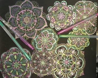 Metallic Zentangle Flowers on Black Paper