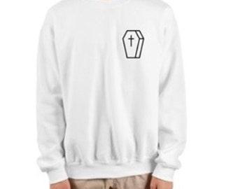 praise the dead white coffin sweatshirt