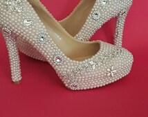 Bespoke hand designed  wedding prom occasion high heels