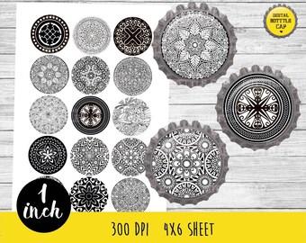 50% OFF SALE Mandala bottle cap,Instant Download Digital Printable Bottlecaps, Jewelry,Paper Crafts,mandala 1 inch,mandala collage-COD79