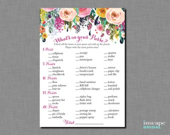 game printable floral bridal shower purse game shabby chic