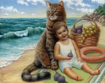 The Cat and The Little Baby Man on the seaside. Original Oil Painting, Oil on canvas