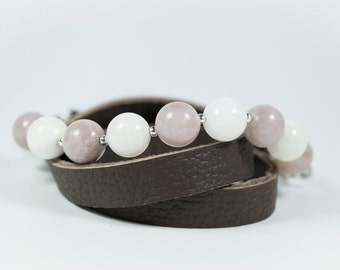 Jade Beads and Real Leather To Side Bracelet. Mandes Bracelets - Too Long - Real Leather and Natural Stone Beads.