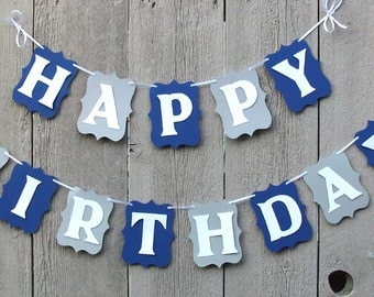 Blue and Gray birthday banner, Dallas Cowboys party decorations, Cowboys banner, Happy Birthday banner, Personalized name banner, Party sign